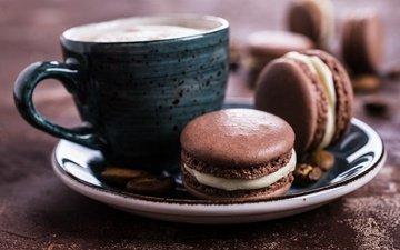 кофе, печенье, выпечка, десерт, макарун, макаруны, миндальное, крем, coffee cup