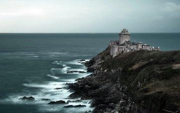 скалы, море, франция, франци, бретань, plevenon, плевен, форт ла латте