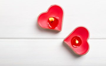 candles, hearts, romantic, red, valentine's day