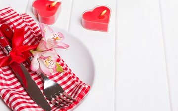 flowers, candles, plug, knife, hearts, romantic, red, valentine's day