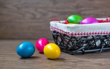 rainbow, easter, basket, eggs, spring, happy, colorful, the painted eggs