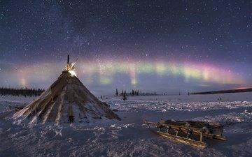 зима, сани, северное сияние, север, тундра, вигвам, юрта