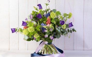 цветы, зелень, букет, колокольчики, калина, гиацинт, эустома