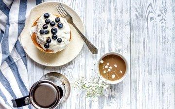 ягоды, черника, завтрак, блины, дерева, какао