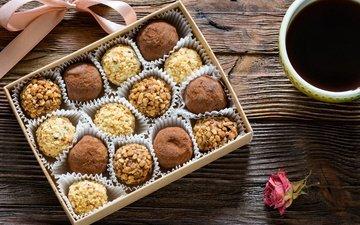 орехи, цветок, конфеты, чай, лента, шоколад, коробка, в шоколаде, candies