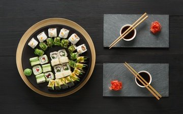 японская еда, палочки, соус, суши, роллы, вассаби, имбирь, набор