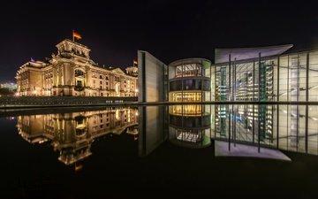 ночь, огни, германия, берлин, рейхстаг, правительственный квартал