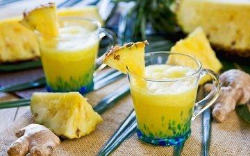 фрукты, ананас, сок, имбирь