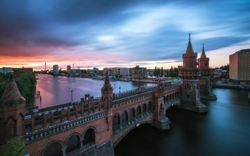 река, мост, башни, германия, берлин