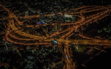 ночь, огни, панорама, таиланд, бангкок
