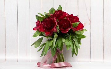 цветы, букет, лента, пионы