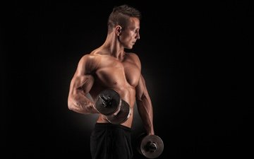 pose, fitness, muscle, bodybuilder, athlete, dumbbells, training, weight, biceps