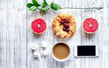 ягоды, телефон, черника, завтрак, дерева, какао, грейпфрут, булочка, coffee cup
