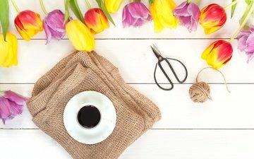 цветы, кофе, весна, тюльпаны, дерева, красива, тульпаны, цветы, яркая, парное, весенние, красочная, coffee cup