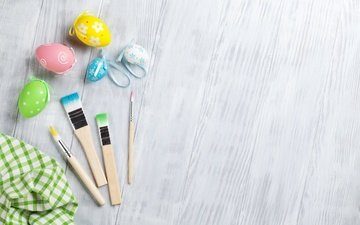 spring, holidays, easter, eggs, brush, decor, planks