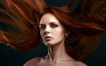 девушка, взгляд, волосы, лицо, взмах, макияж, рыжеволосая