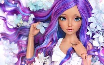 цветы, девушка, кукла, волосы