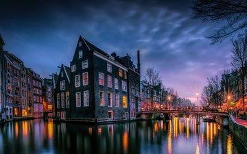 свет, огни, вечер, утро, мост, город, краски, дома, нидерланды, амстердам