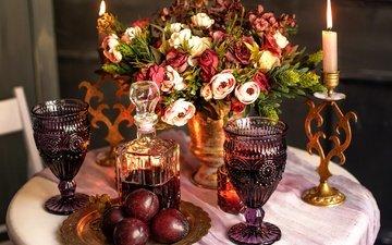 цветы, стол, букет, вино, свеча, бокалы, сливы, графин