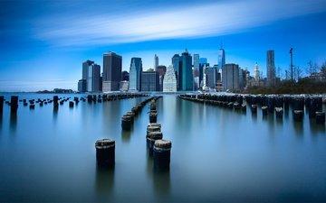 небо, облака, город, сша, нью-йорк, выдержка, нью - йорк