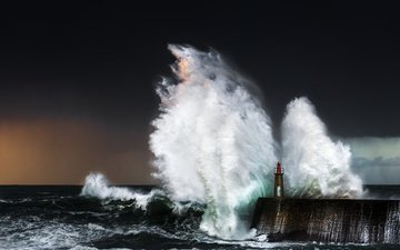 nature, wave, sea, lighthouse, splash, storm