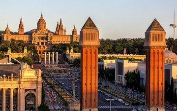 люди, панорама, город, башни, дворец, испания, барселона