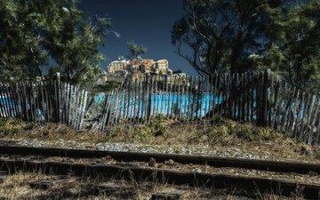 железная дорога, город, забор, франци, корсика, calvi