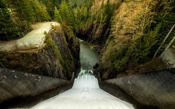 trees, water, river, rocks, forest, the view from the top, height, stream, vancouver, open, canada, dam, cleveland dam