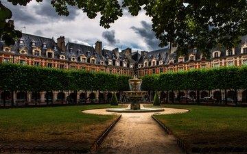 деревья, зелень, парк, париж, фонтан, здание, франция, газон, нотр-дам