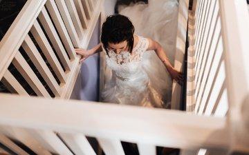 платье, брюнетка, невеста, вырез, декольте