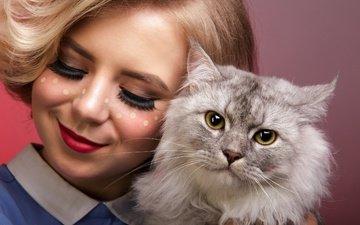девушка, улыбка, кошка, взгляд, волосы, лицо, губки