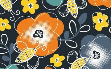 design, background, pattern, color, form, ornament, bees, floral