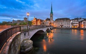 река, мост, швейцария, дома, фонарь, шпиль, цюрих