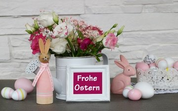 flowers, rabbits, easter, holiday, still life, eggs, decor