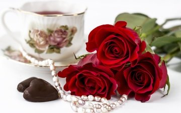 roses, cup, tea, necklace, pearl, candy