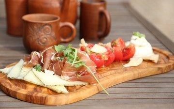 сыр, мясо, помидоры, закуска, нарезка, хамон