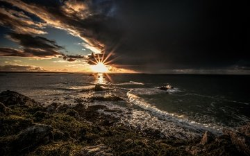 берег, закат, море
