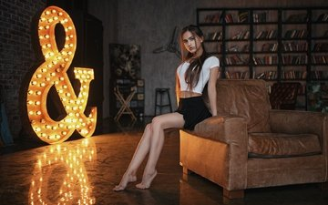 light, girl, legs, photographer, chair, lamp, nastya, sergey fat, anastasiya lis