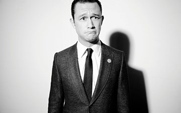 background, sadness, black and white, actor, shadow, costume, tie, los angeles, photoshoot, grimace, jacket, facial expressions, maarten de boer, joseph gordon-levitt