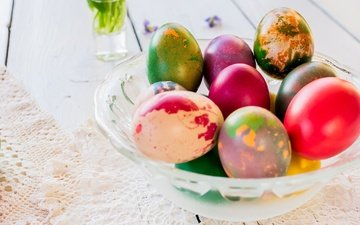 easter, eggs, holiday, napkin, lace, vase