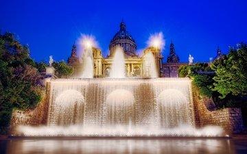 фонтан, подсветка, дворец, испания, барселона