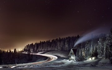light, road, night, trees, forest, winter, smoke, house
