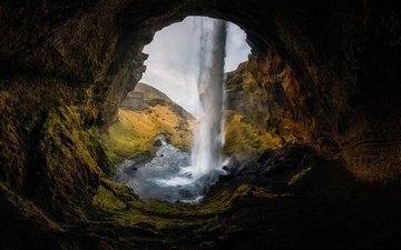 скалы, водопад, пещера, исландия, northern cave