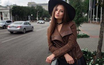 дорога, девушка, модель, машины, макияж, шляпа, куртка, тротуар, фотосессия, шатенка, боке, dmitry sn, вероника
