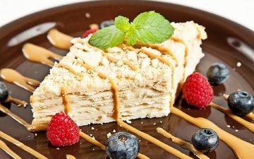 мята, малина, ягоды, торт, слои, голубика, наполеон