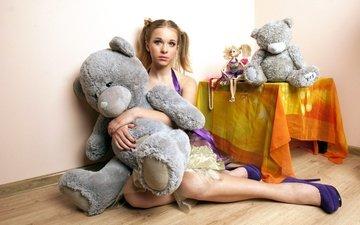 девушка, взгляд, мишка, кукла, волосы, лицо, игрушки