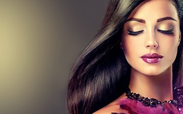 girl, model, lips, feathers, makeup, hairstyle, lipstick, eyelashes, necklace, long hair