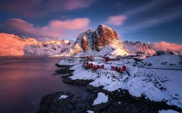 mountains, norway, the village, the lofoten islands, the fjord