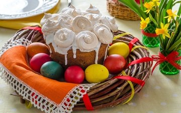 branches, easter, daffodils, cake, decor, eggs