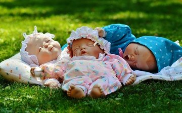 grass, children, toys, kids, doll, newborns